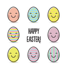 smiley colorful easter eggs greeting vector image vector image