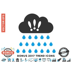 Thunderstorm Rain Cloud Flat Icon With 2017 Bonus vector image
