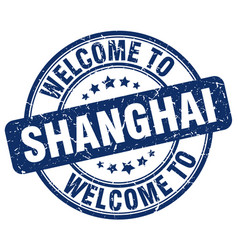 Welcome to shanghai blue round vintage stamp vector
