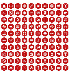 100 basketball icons hexagon red vector image vector image