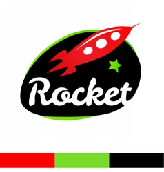 Rocket in spase logo template vector