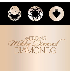 Wedding Diamonds Icons vector image