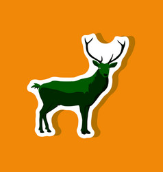 Paper sticker on stylish background deer vector