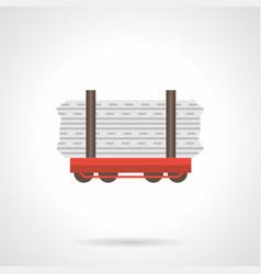 Rail flatcar flat color icon vector