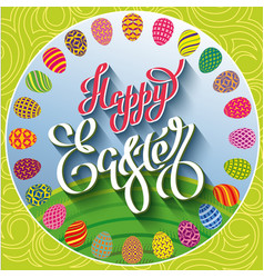 Multi colored easter eggs on a green lawn with vector