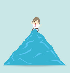 success businessman is win on top up the mountain vector image