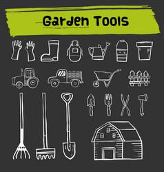 Garden tool doodle icon set vector