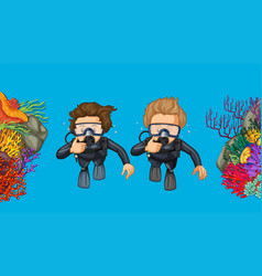 Two people scuba diving under the sea vector