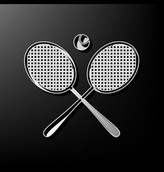 Two tennis racket with ball sign  gray 3d vector