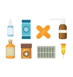 Cartoon medicaments different medical pills and vector