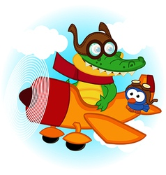 Crocodile bird flying by plane vector