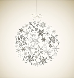 Christmas ball made from gray simple snowflakes vector