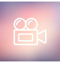 Old cinema video cam thin line icon vector