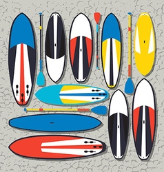 Stand up paddle boards and paddles set in vector