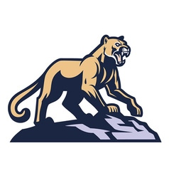 Cougar mascot standing on the rock vector