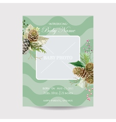 Baby arrival card with photo frame - winter theme vector