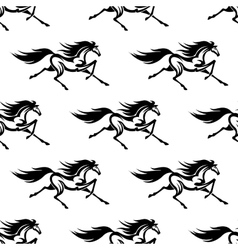 Black and white horses seamless pattern vector