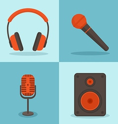 Music concepts in flat style set of icons vector