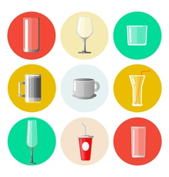 Set of different glasses and cups vector