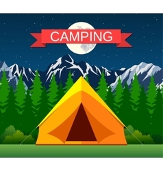 Tourist tent under the moon and stars vector image