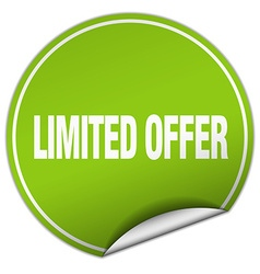 Limited offer round green sticker isolated on vector