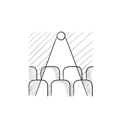 Movie theater with seats projector sketch icon vector