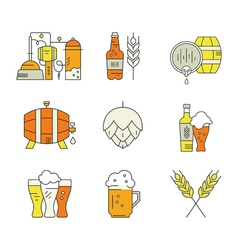 Beer industry icons vector