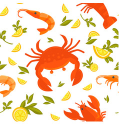 big crab king shrimp sour lemon and fresh vector image