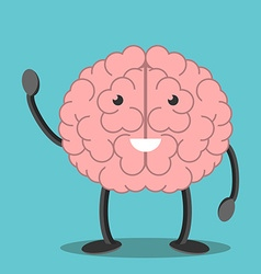 Brain character waving hand vector