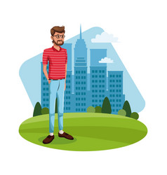 Cartoon guy standing grass with city building vector
