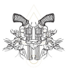 Contour image of two revolvers roses and diamond vector