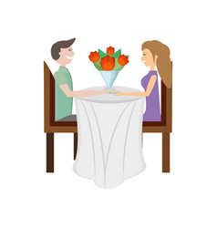 Couple love sitting elegant table image vector