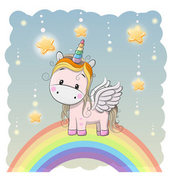 Cute cartoon unicorn on the rainbow vector