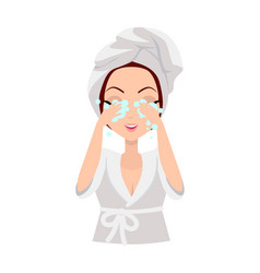 Girl cleaning and care her face vector