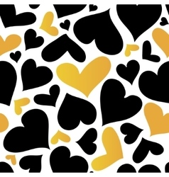 Gold and black hearts seamless pattern vector