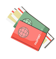 International passports with tickets isolated on vector