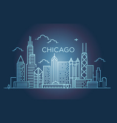 Linear banner of chicago city line art vector