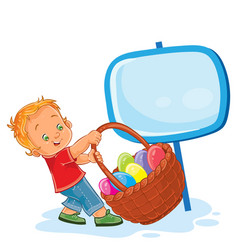 Little boy is dragging a basket for easter vector