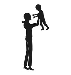 mom holding baby playing pictogram vector image