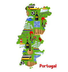 portugal map portuguese national traditional vector image vector image