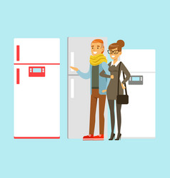 Positive young family couple choosing fridge vector