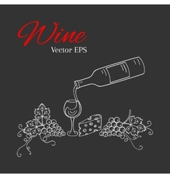 Pouring wine into the glass vector image vector image