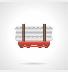 rail flatcar flat color icon vector image