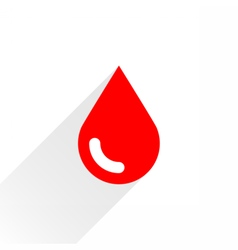 Red drop icon with gray long shadow vector