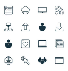 Set of 16 web icons includes cursor tap account vector