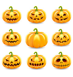 set of halloween pumpkins collection isolated vector image vector image