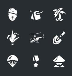 Set of vietnam war icons vector