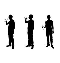 silhouettes of men drinking from bottles vector image vector image