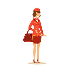 smiling beautiful stewardess character in red vector image