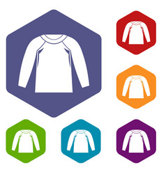 Sports jacket icons set vector